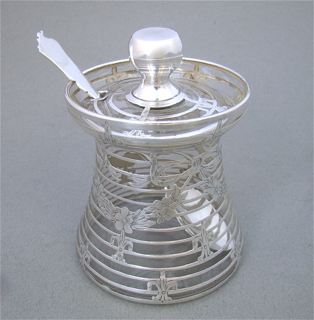 edwardian overlay silver glass honey pot or preserve jar circa 1900