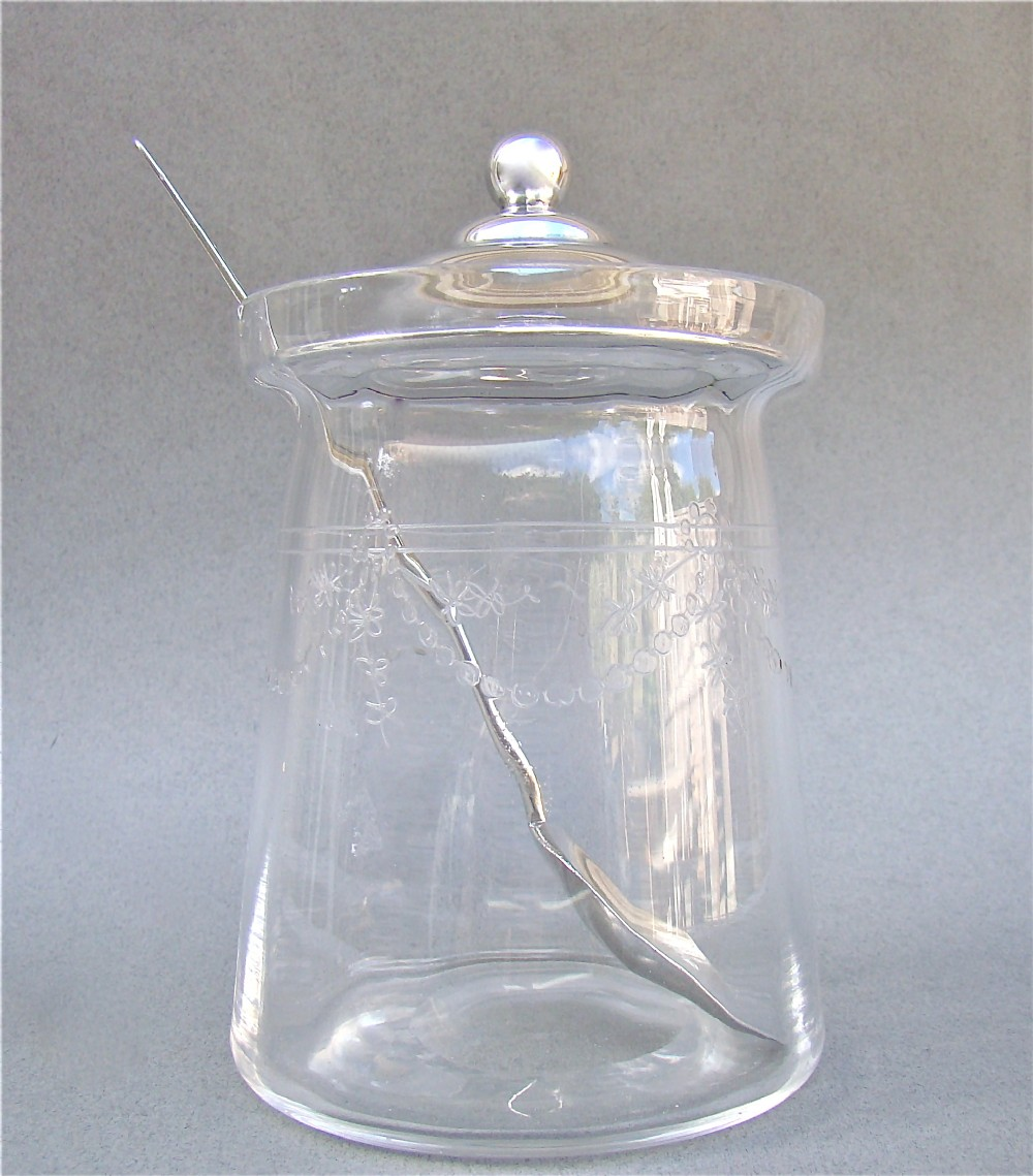 elegant silver and etched glass preserve jar by james dixon sons sheffield 1919