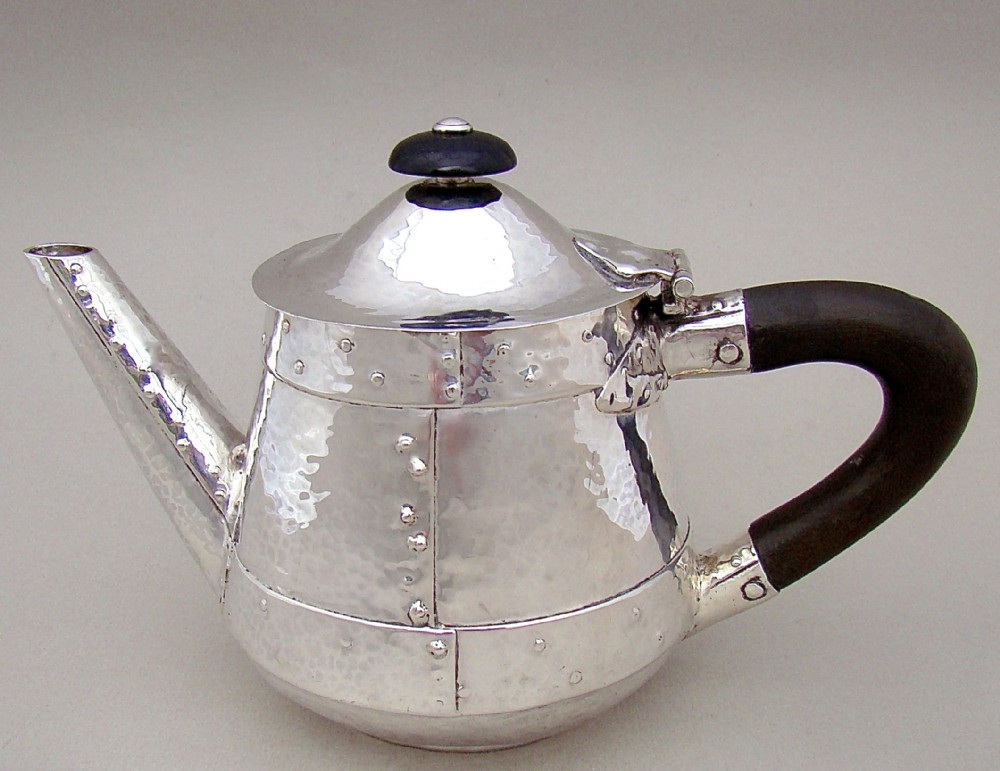 rare arts craft spothammered silver bachelor teapot by james fenton birmingham 1907