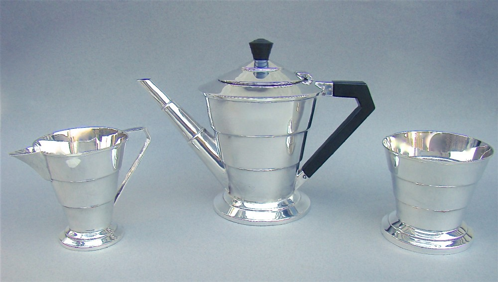 art deco solid silver three piece tea service by viners london 1934