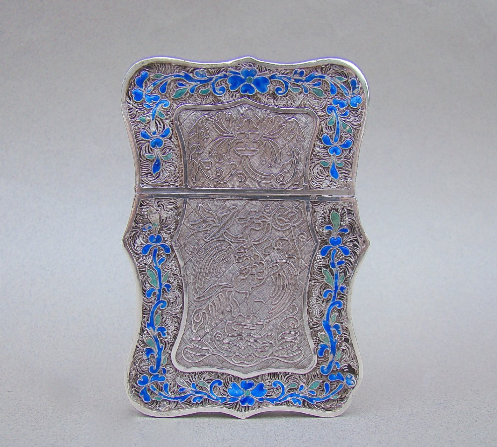 unusual 19th century chinese export silver filigree and enamel card case circa 1890