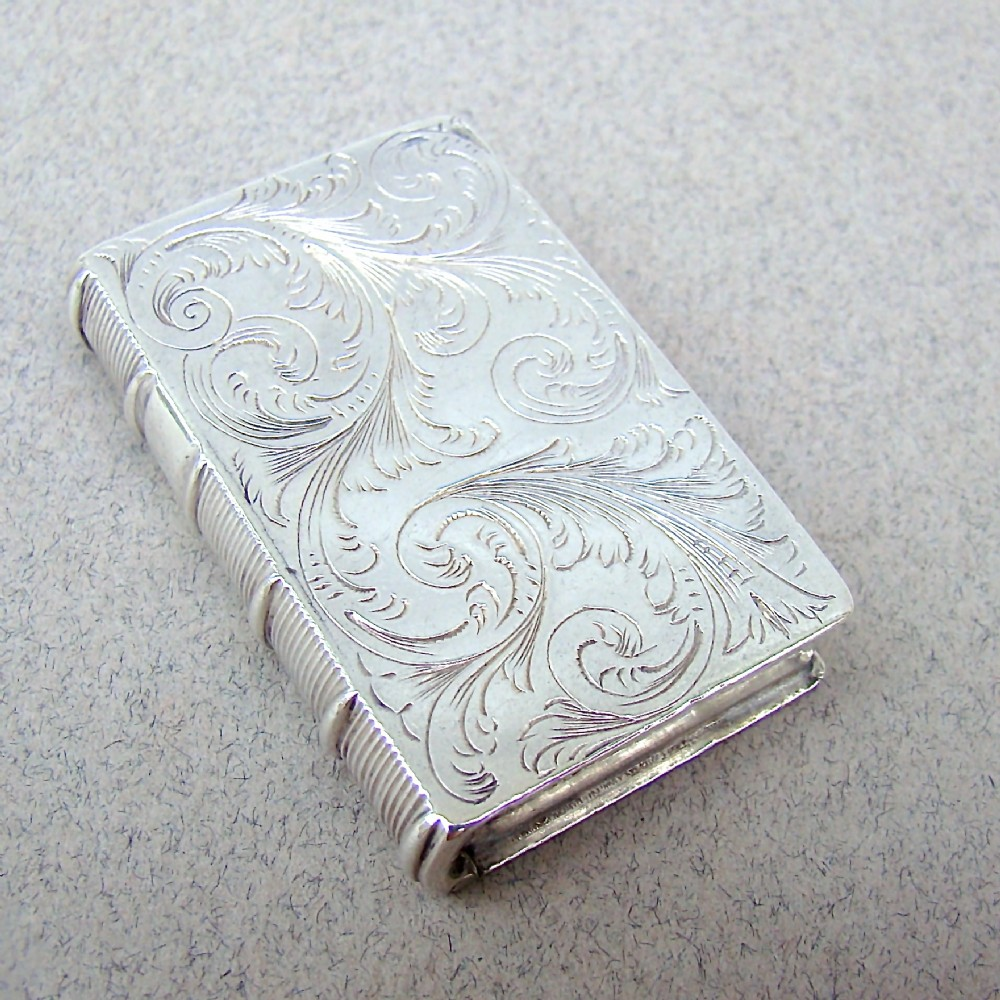 early victorian novelty silver book vinaigrette by taylor perry birmingham 1840
