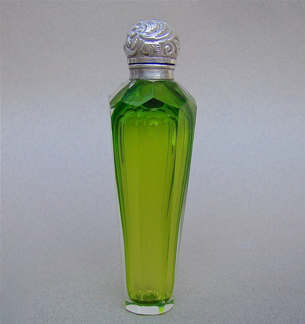 eye catching victorian silver lime green slicedcut glass scent bottle circa 1890