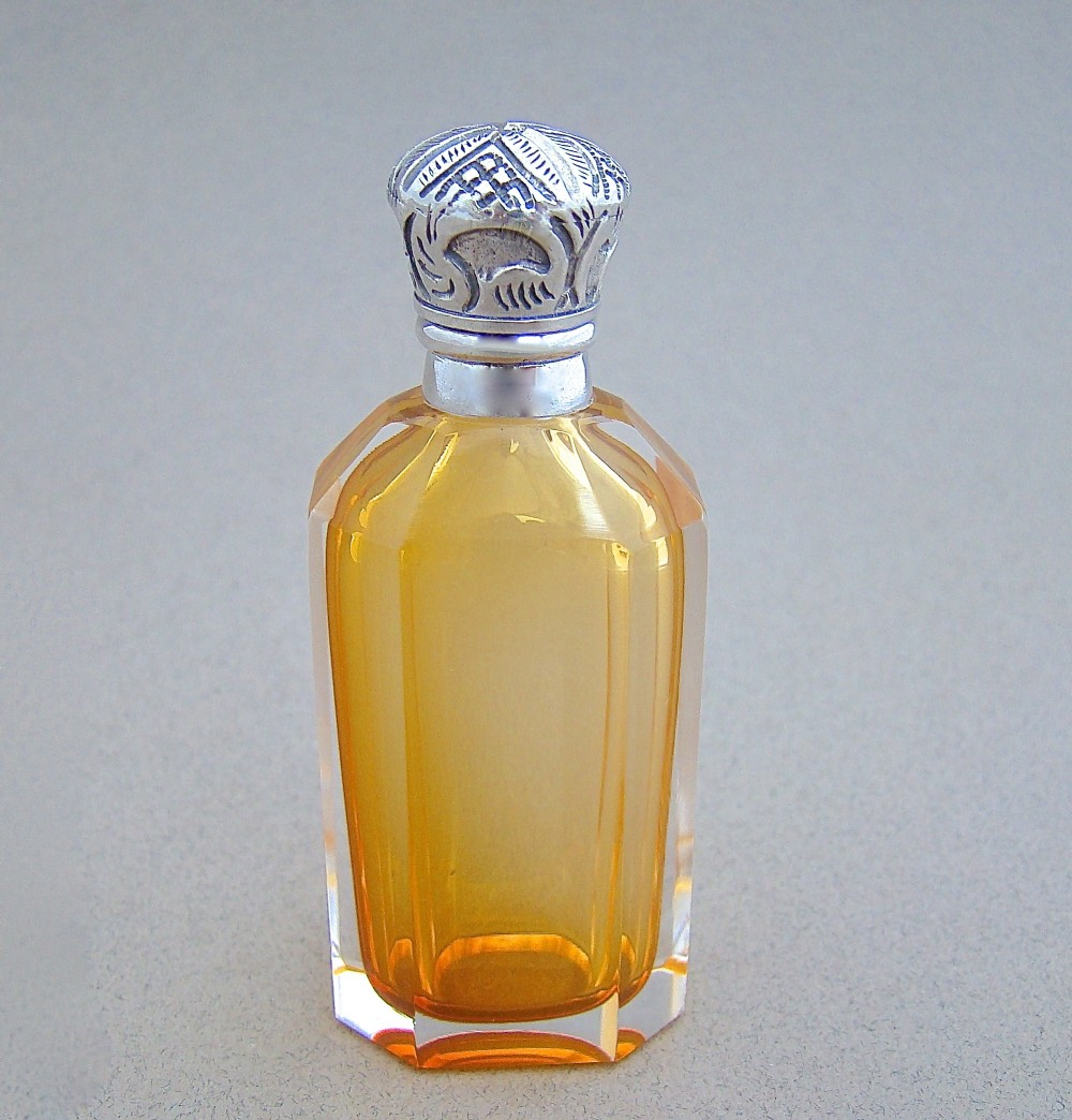 unusual victorian silver pale apricot glass scent bottle circa 1890