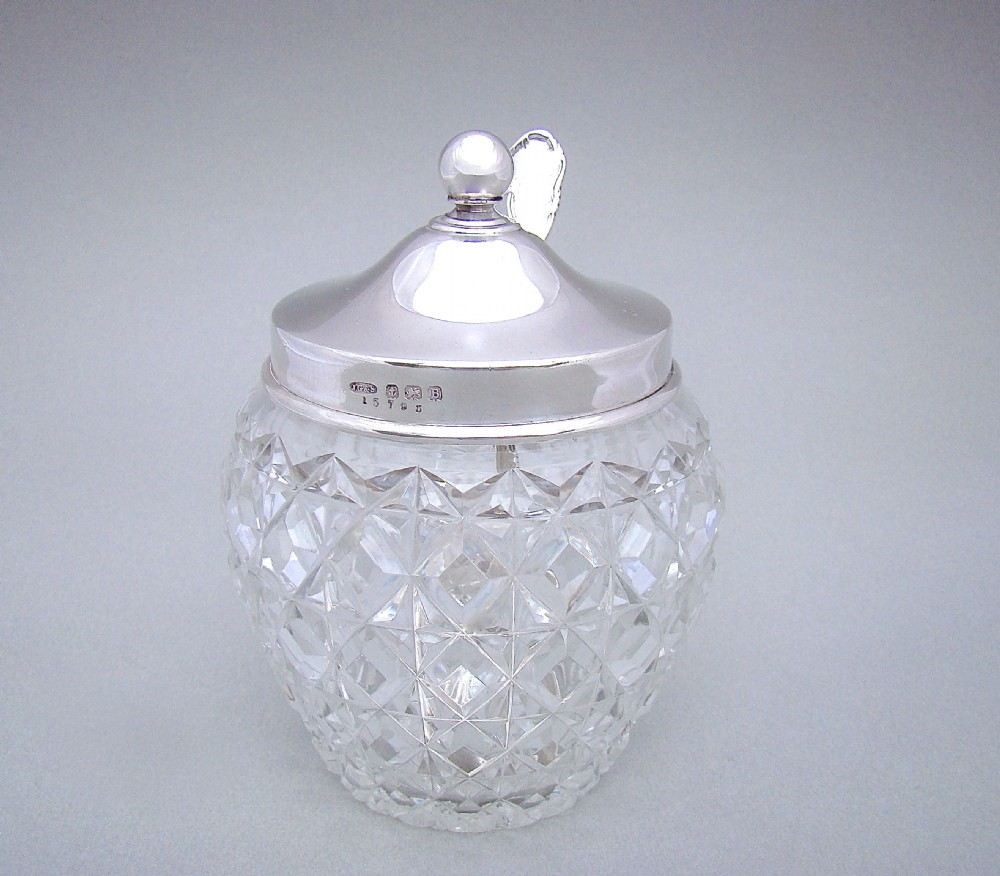 george v silver and hobnailcut glass preserve jar by j grinsell sons birmingham 1926